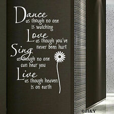 Dance Love Sing Live Wall Quotes Decal Removable Stickers Home Decor Vinyl Art