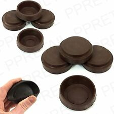4x SMALL / LARGE RUBBER BROWN CASTOR CUPS Floor Furniture Protector Caster BENDY