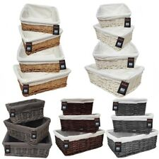 WICKER WILLOW STORAGE BASKETS WITH LINING XMAS GIFT HAMPER SMALL MEDIUM OR LARGE
