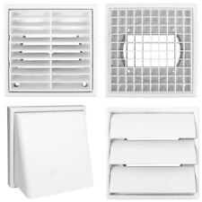 "QUALITY WHITE SQUARE 100MM/4"" GRILLE DUCTING AIR VENT COVER Wall Ventilation NEW"