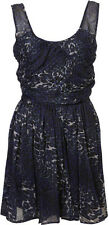 TOPSHOP BLUE LEOPARD PRINT RUCHED FRONT CHIFFON LINED DRESS UK 8,10,12 RRP £65