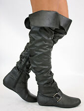 LADIES FLAT KNEE HIGH WOMEN THIGH OVER KNEE BOOTS SIZE