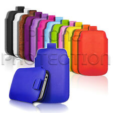 LEATHER PULL TAB SKIN CASE COVER POUCH FITS VARIOUS ALCATEL PHONES