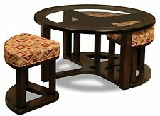 Amish Table Round Casual Glass Solid Wood Benches Fabric Oak Brown Maple New