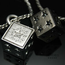 Lucky Dice Star Cubic Pendant Chain Necklace Silver Plated Mens Casino Jewelry