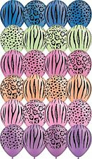 12 - 48 pc Neon Safari Animal Print Latex Balloons Happy Birthday Party Jungle
