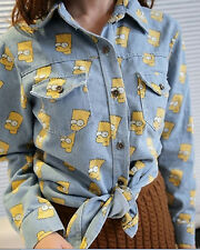 NWT SP348 Ladies New Arrival Trend Cartoon Simpsons Denim Shirts (2 Colors)