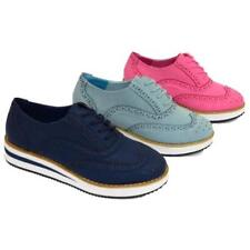 WOMENS BLUE NAVY OR PINK FLAT PLATFORM BROGUE BROTHEL CREEPER SHOES SIZES 3-8