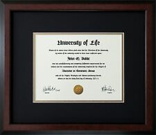 "Walnut Wood Frame with mats & glass for 10x13"" Diploma Certificate Document"