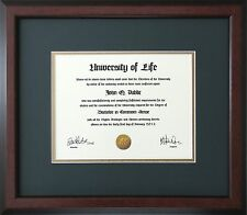 Walnut Wood Frame with Green and gold mats for Diploma Certificate Document