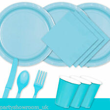 Baby Blue Tableware Party Table Cover Napkins Cups Cutlery Plates PS