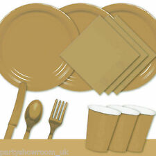 Gold Tableware Party Table Cover Napkins Cups Cutlery Plates PS