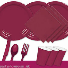 Burgundy Tableware Party Table Cover Napkins Cups Wedding Cutlery Plates PS