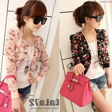 Fashion Womens Floral Print Casual Chiffon Small Short Coat Tops Outwear Jacket
