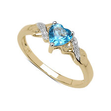 9CT GOLD SMALL HEART SHAPED BLUE TOPAZ & DIAMOND SET SHOULDERS ENGAGEMENT RING