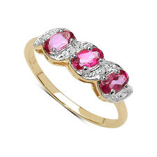 9CT GOLD PINK TOPAZ & DIAMOND ETERNITY ENGAGEMENT RING SIZE LQ ANNIVERSARY GIFT