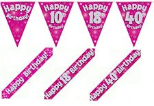 Pink Holographic Foil Happy Birthday Banners, Bunting & Badges ages 1 - 90