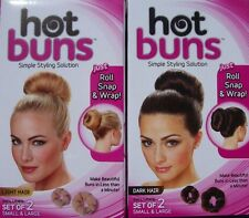 HOT BUNS hairstyle bun maker (Small & Large) Light or Dark color ~ As Seen on TV