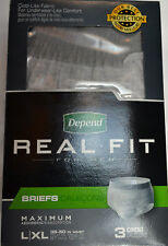 Depends Real Fit Mens Brief Maximum Absorbency S/M or L/XL Gray 3 Pack Discreet
