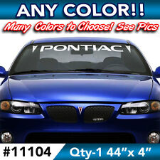 "PONTIAC WORD w/ SIDE LOGOS WINDSHIELD DECAL STICKER 44""w x4""h in ANY COLOR"