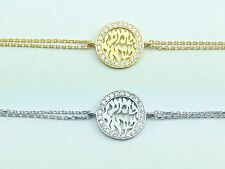 Shema Israel Bracelet 925 Sterling Silver Yellow Gold Plated Crystal Shma Jewish