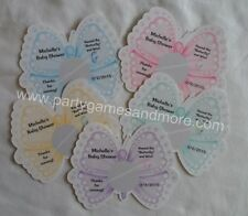 UNIQUE PERSONALIZED BUTTERFLY BABY SHOWER, BIRTHDAY SCRATCH OFF LOTTO GAME CARDS