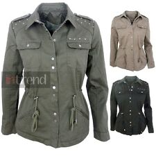 LADIES MILITARY STYLE ARMY STUDDED JACKET WOMENS UTILITY COAT 3 COLOURS 10-16