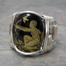 Sagittarius Zodiac Astrology Sign Sterling Silver Wire Wrapped Ring ANY Size
