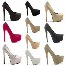 NEW LADIES HIGH HEEL STILETTO PLATFORM SHINY GLITTERY COURT SHOES SHOES UK 3-8