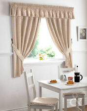 Gingham Check Kitchen Curtains Natural Beige Ready Made Pencil Pleat Net Curtain