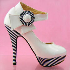 Ladies Sexy White Flower Ankle Strap Stripe High Heel Platform Party Pumps Shoes
