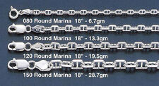 "Silver Sterling .925 3mm Round Marina Link Chain Item #080 16"", 18"", 20"", 24"""