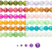 Round Mother of Pearl Beads On a 16 Inch Strand in Sizes Small - Big MOP Shells