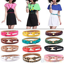 Candy Color Fashion Big Bowknot Belt Pu Leather Thin Skinny Waistband For Women