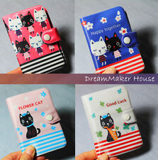 =Kawaii=Cute Happy Lucky Cat=12Slots Vintage Credit ID Card Holder Book Case Bag