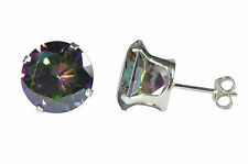 Sterling Silver Round Mystic Topaz Cubic Zirconia Stud Earrings Prong AAA CZ