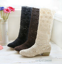 Women Shoes Lace Cowboy Boots Mid-Calf Boots Wedge Low Heels AU All Size YB928