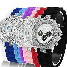 Geneva Silicone Crystal Quartz Ladies Women Jelly Wrist Watch Versicolor