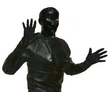 BLACK PREMIER LATEX RUBBER SHIRT WITH GLOVES AND HOOD wEYE NOSE MOUTH HOLES S-XL