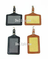 Business Name Tag Leather ID Badge Card Holder with Metal Clip & Snaps