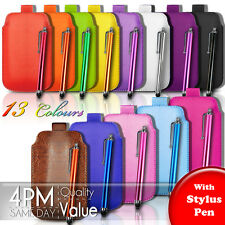 Premium PU Leather Pull Tab Pouch Case Cover & Stylus Pen For Various HTC Phones