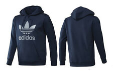 ADIDAS ADI TREFOIL HOODIE ATHLETIC GRAPHIC LONG SLEEVE DARK BLUE HOODY TOP