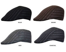 FREE UK P/P Classic Pre-Formed Pin Stripe Flat Cap Hat Black Brown Grey Charcoal