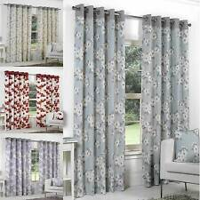 Eyelet Lined Curtains Readymade Ringtop Floral Curtains