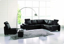 6pcs Modern Leather Sectional Sofa set with ottomans