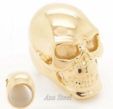 MENS Cool Huge Heavy Golden Skull 316L Stainless Steel Biker Ring
