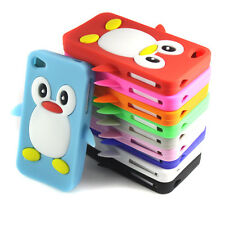 Cute 3D Penguin Style Soft Silicone Gel Back Case Cover For Iphone 4S 4GS 4 4G