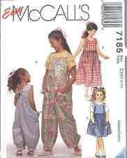 7185 UNCUT McCalls Vintage SEWING Pattern Girls Jumpsuit Sundress OOP
