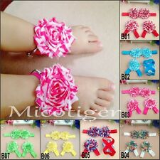 Baby shabby chiffon rose flower headbands + Barefoot Flower Sock Sandals Shoes