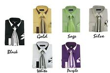 New Men's French Cuff Dress Shirt + Tie + Handkerchief Set Spread Collar  SG34